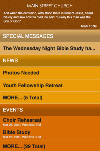 Church111 mobile app home screen